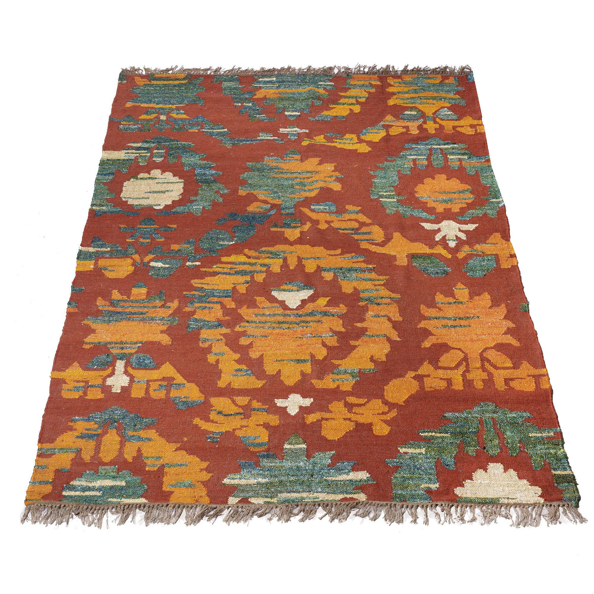 Alfombra de lana y seda, rojo, naranja, y verde 1.80 x 2.50 m
