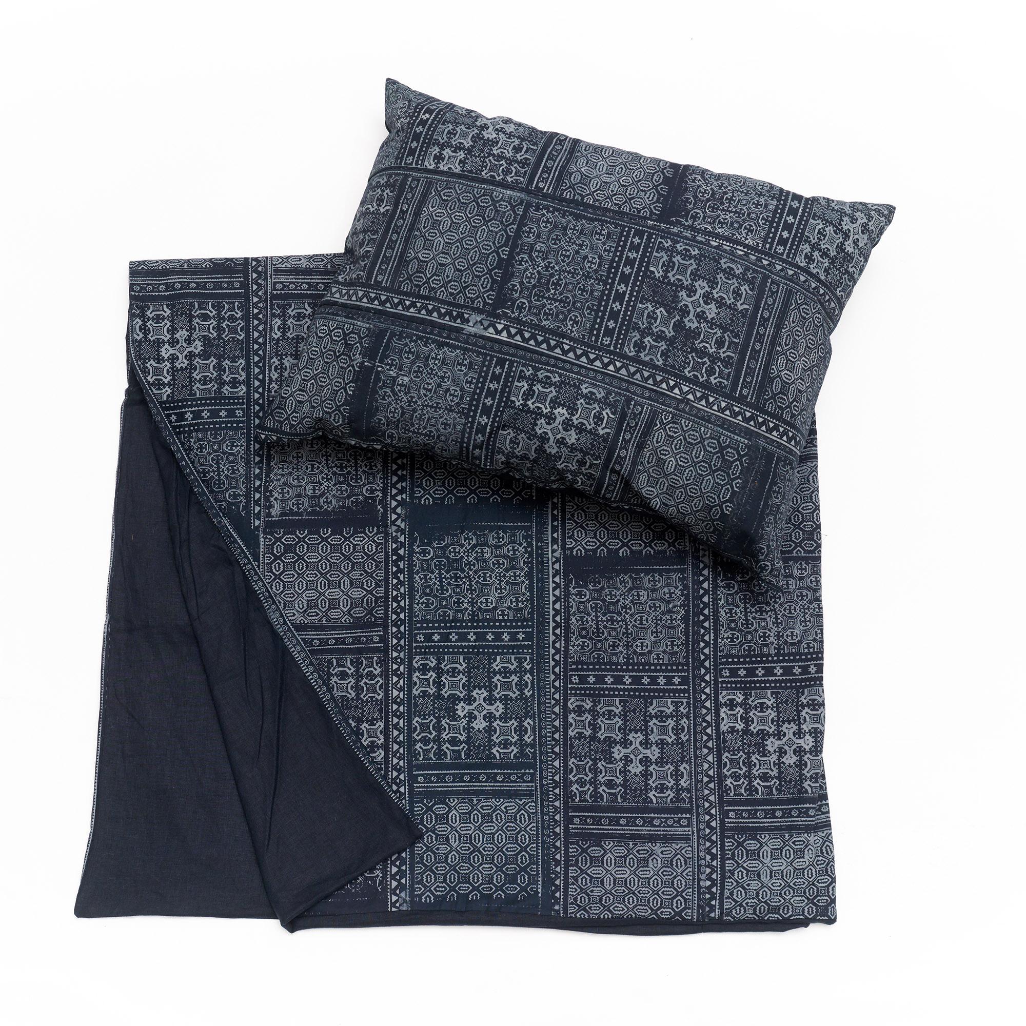 Colcha H´mong de Batik azul marino y funda de almohada