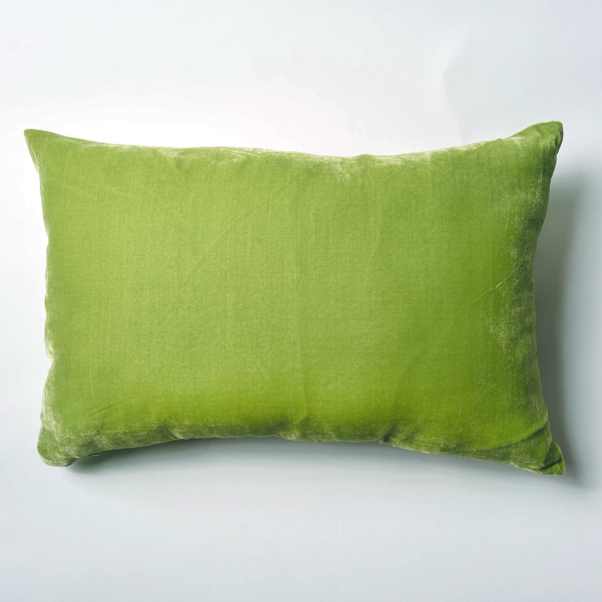 Almohadón de terciopelo, rectangular, verde manzana