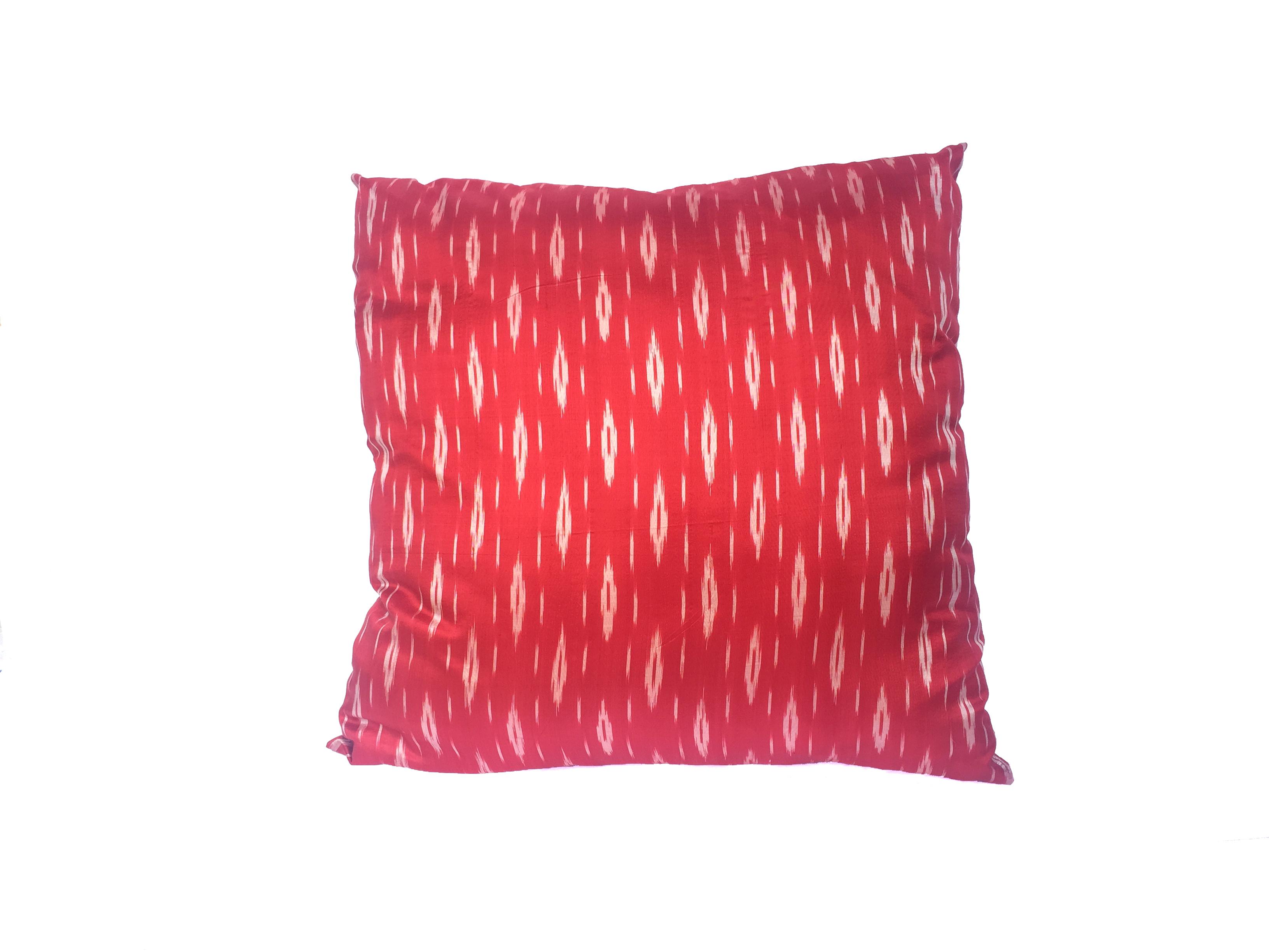 SALE! Almohadón seda natural rojo y blanco