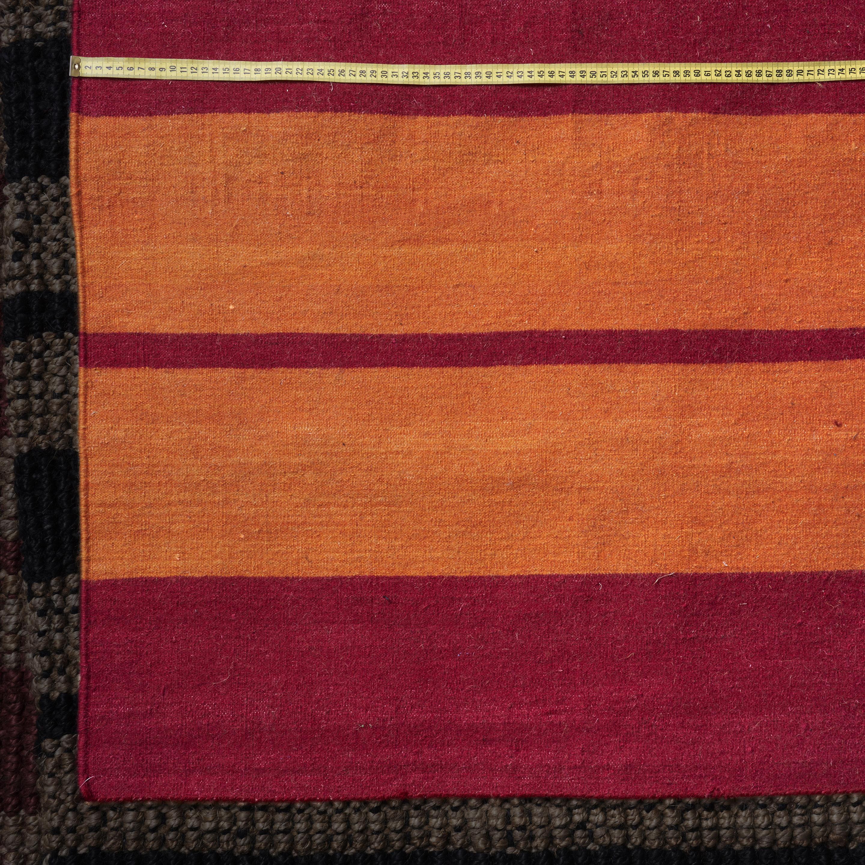 Alfombra Dhurrie lana rayada, rojo y naranja 1.80 x 2.72 m