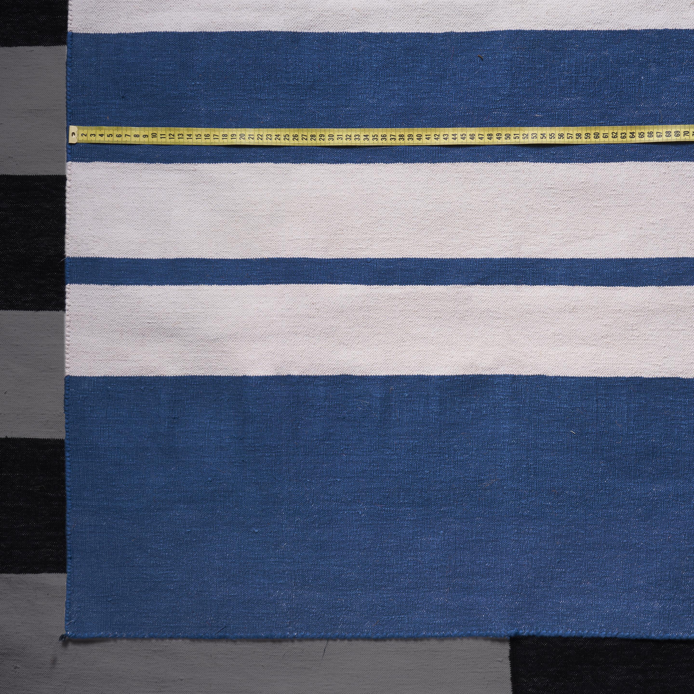 Alfombra Dhurrie algodón, azul y blanco 2.00 x 2.96 m