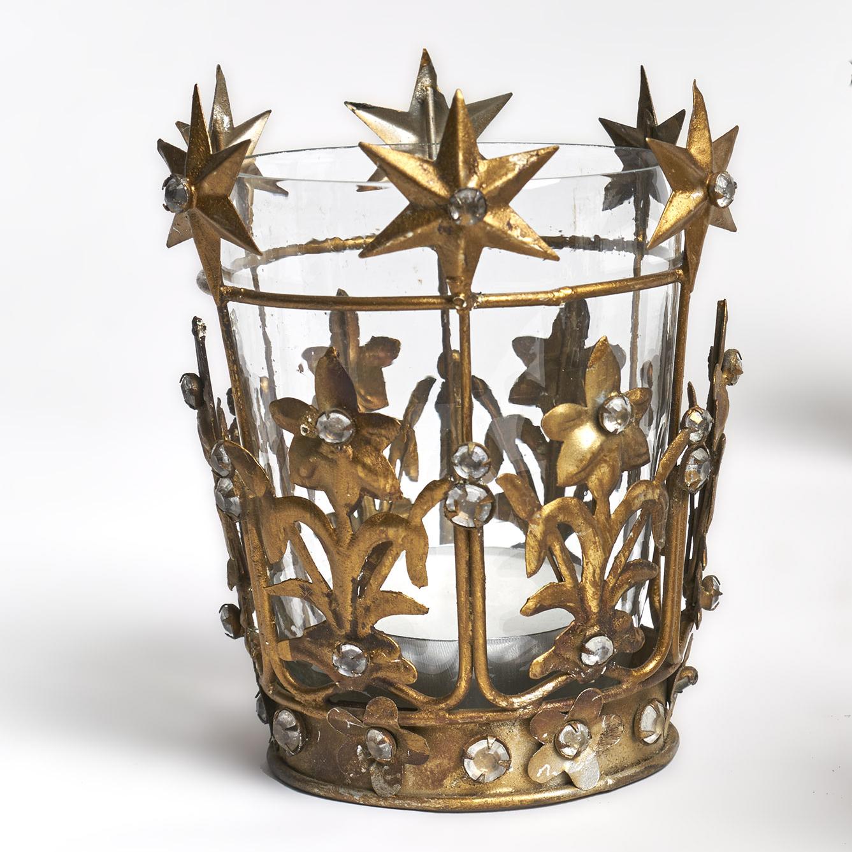 Candelabro de metal dorado viejo con incrustaciones de vidrio, para una vela