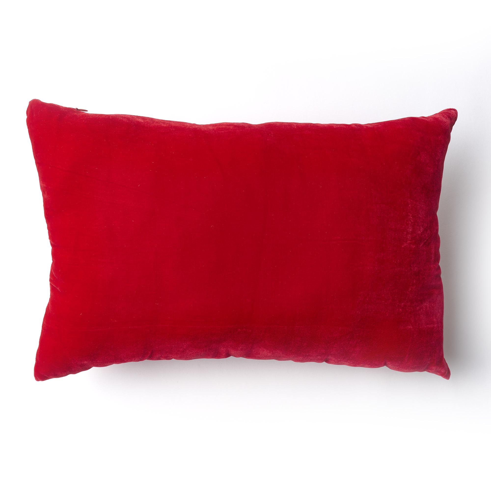 Almohadón de terciopelo, rectangular, rojo.