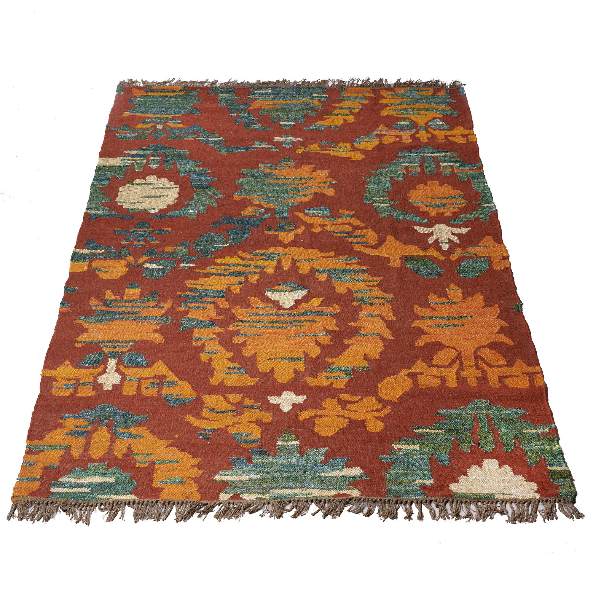 Alfombra de lana y seda, rojo, naranja, y verde 2.00 x 3.00 m