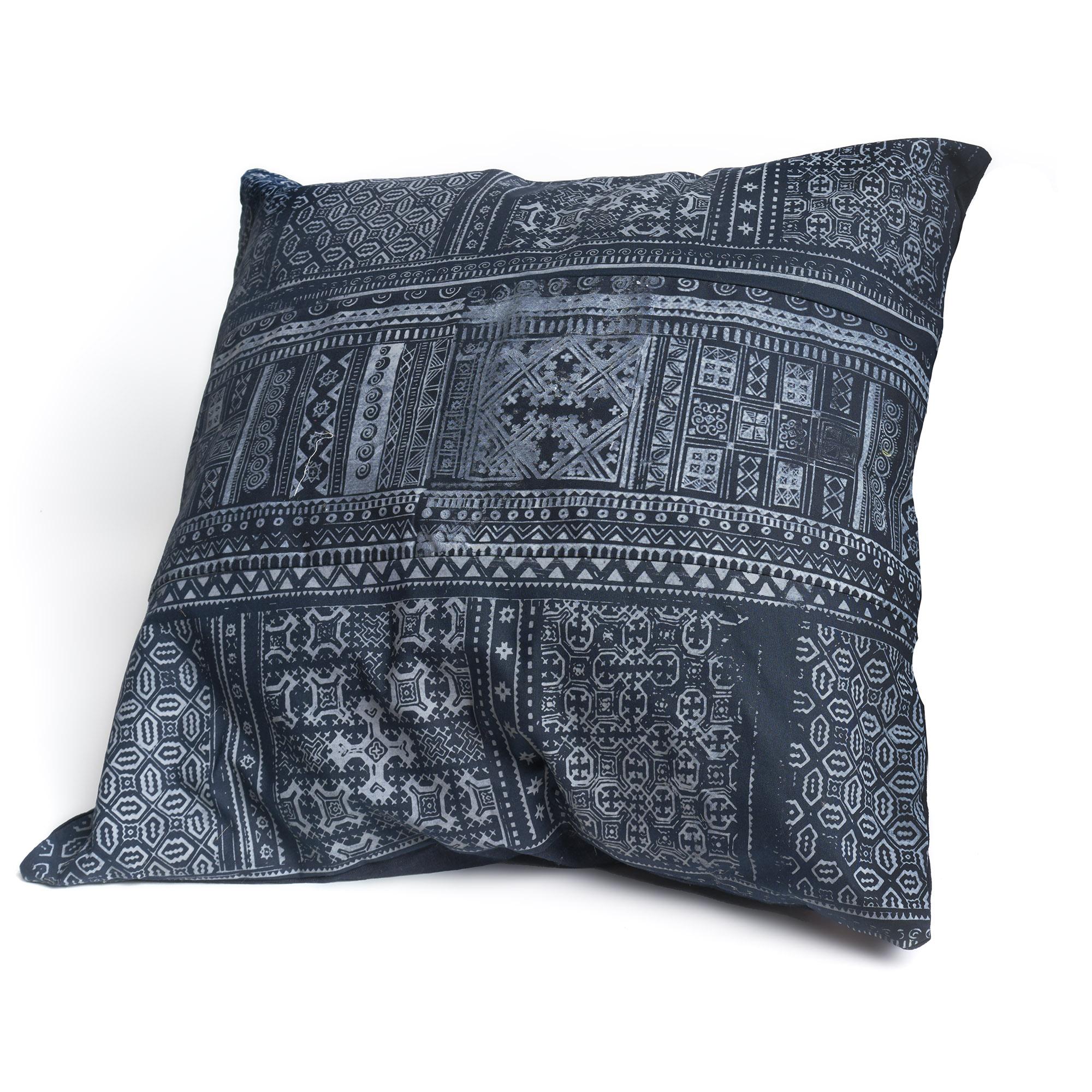 Almohadón de algodón cuadrado azul, batik H'mong