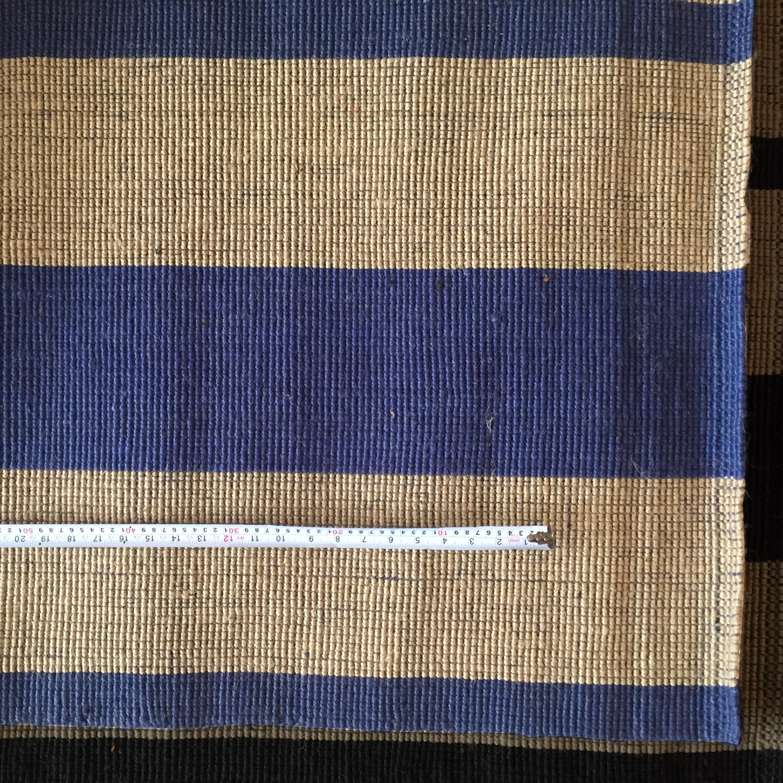 Alfombra de yute 5 Hebras, rayas natural y azul 1.60 x 2.60