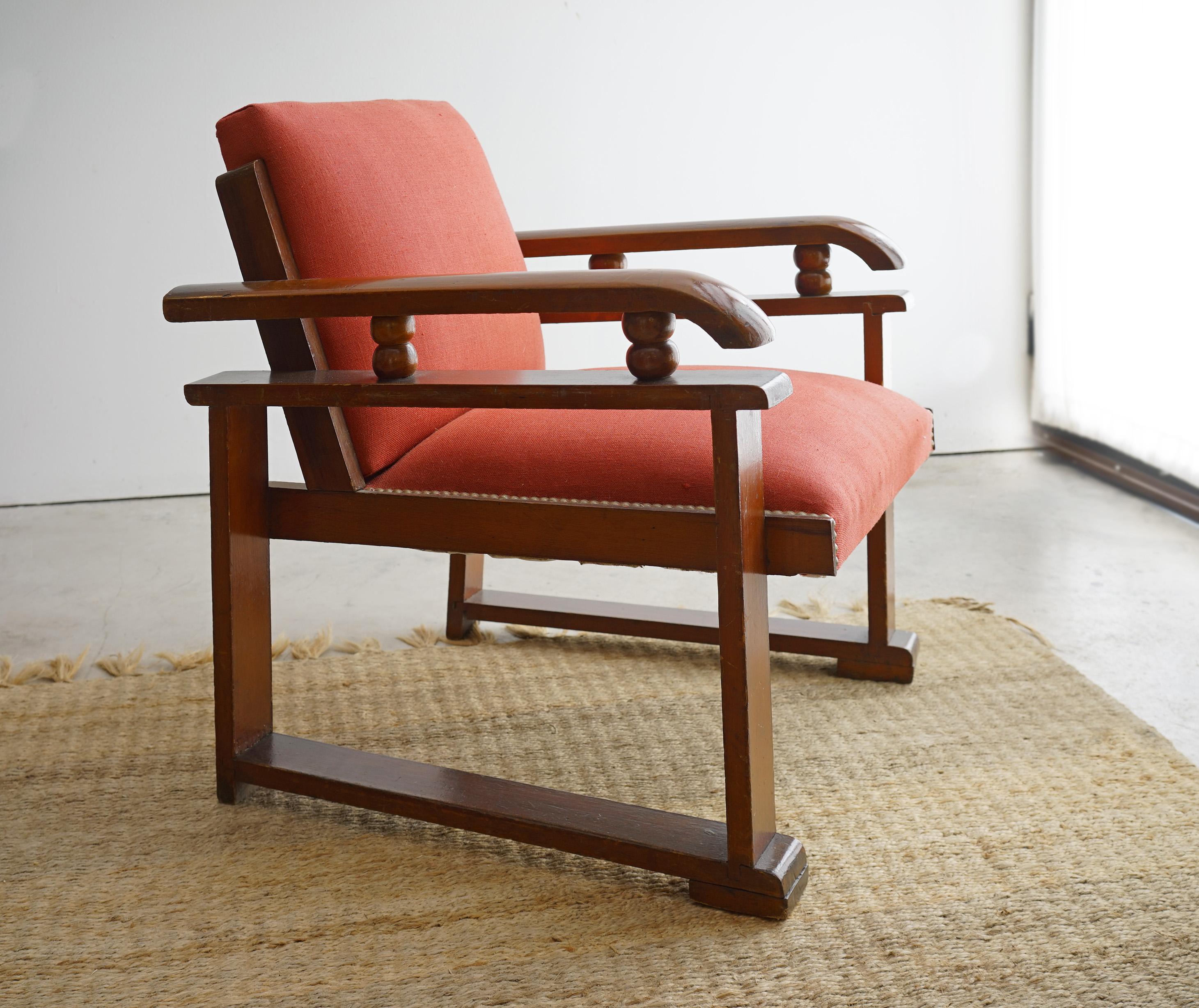 Par de sillones Art Decó lino rojo  ¡SALE!